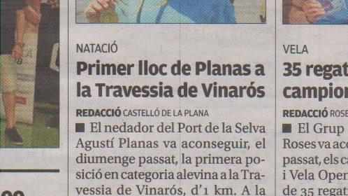 Victòria d'Agustí Planas a la Travessia de Vinarós 2018